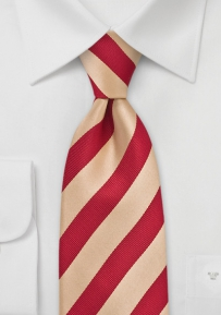Striped Tie in Red and Gold