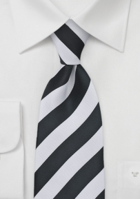 Black & White Striped Tie in Boys Size