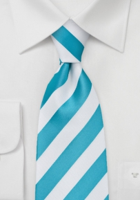 White and Aqua Striped Tie Made for Kids