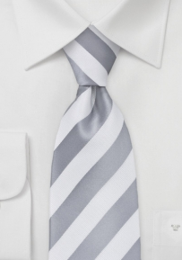 Striped Tie in Grey and White