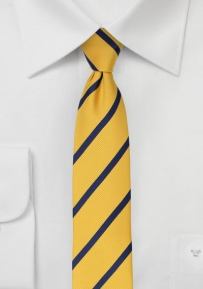 Preppy Skinny Striped Necktie in Yellow and Navy