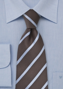 Striped Tie in Espresso Brown and Grey