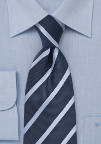 Striped Extra Long Tie in Dark and Light Blues