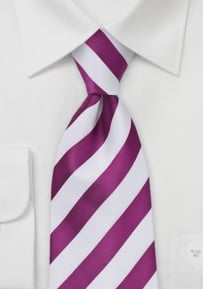 Dark Pink and White Striped Tie
