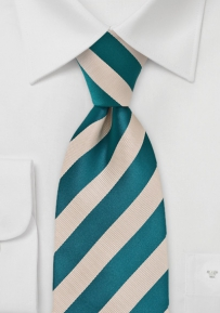 Champagne and Teal Blue Striped Tie in XL