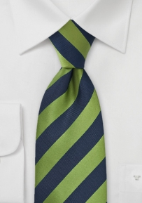 Citrus Green and Navy Striped Tie
