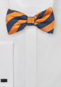 Tangerine Orange and Navy Bow Tie