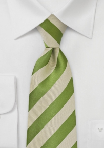 Striped Tie in Green and Tan