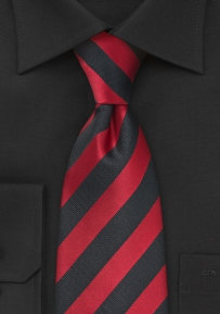 Deep Red and Black Tie in XL Length