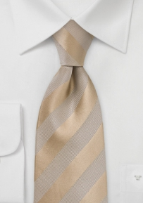 Textured Gold Striped Tie in XL Length