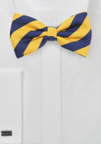 Repp-Striped Bow Tie in Yellow and Navy