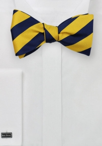 Self Tied Striped Bow Tie in Yellow and Navy