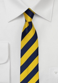 Skinny Cut Repp Striped Tie in Golden Yellow and Navy
