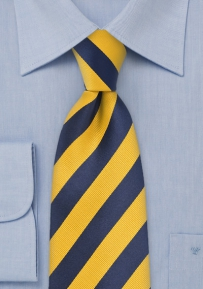 Blue and Yellow Striped Tie