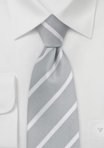 Classic Silver and White Striped Tie for Kids