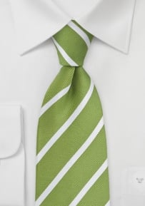 Grass Green and White Necktie