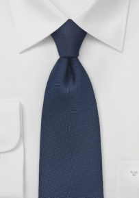 Dark Navy Tie with Embroidered Diamonds