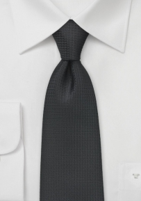 XL Sized Embroidered Black Neck Tie