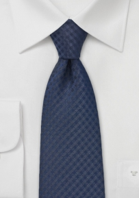 Navy Gingham Checkered Tie in XL Size