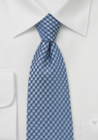 Blue Gingham Check Tie for Tall Men