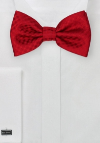 Bold Red Bow Tie with Micro Gingham Check