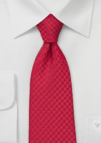 Gingham Check Tie in Red for Boys