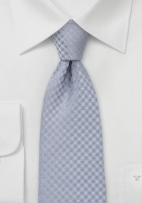 Extra Long Silver Gingham Checkered Tie