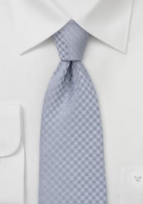 Festive Silver Gingham Checkered Tie