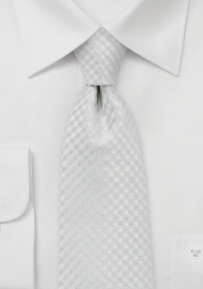 XL Mens Tie with Gingham Check in Bone White