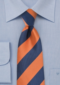 Extra Long Striped Tie in Dark Blue and Orange