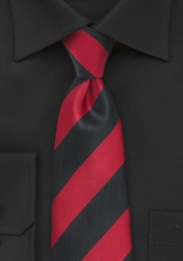Wide Striped XL Length Necktie in Bright Red and Jet Black