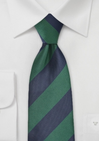 Classic Striped Necktie in Hunter Green and Dark Navy