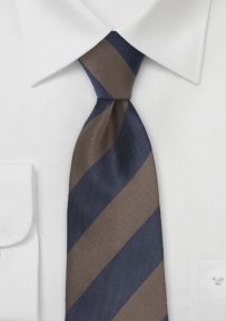 Classic Striped Tie in Brown and Navy Blue