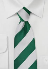 Classic Striped Tie in Hunter and White