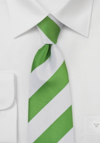 Bold Striped Tie in Key Lime and White