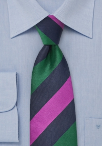 Bold Striped Necktie in Navy with Magenta and Dark Green