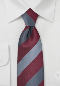 Striped Tie in Burgundy, Silver, Gray