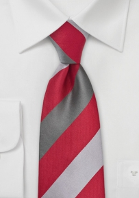Bold Striped Tie in Bright Red and Silver