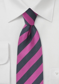 Diagonal Striped Tie in Fuchsia and Charcoal-Blue