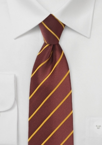 Kids Sized Necktie in Cinnamon Brown and Muted Gold