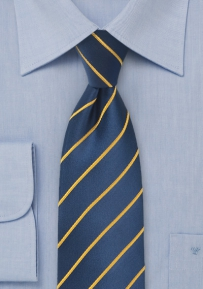 Yellow and Navy Striped Men's Tie in XL Length
