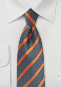 Repp Stripe Tie in Gray and Orange