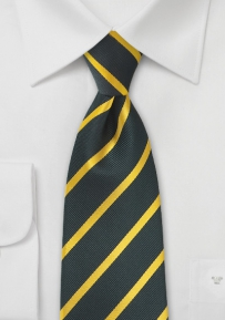 Repp-Stripe Tie in Charcoal and Gold