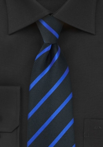 Repp Striped Tie in Black and Horizon Blue