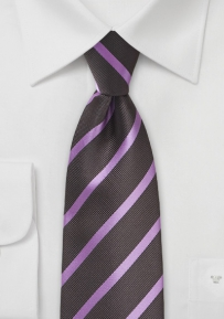 Repp Stripe Tie in Dark Brown and Lavender