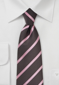 Repp Stripe Tie in Espresso and Pink for Young Boys