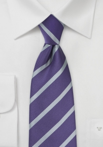 Amethyst and Gray Striped Necktie