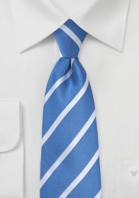 Riviera Blue and Silver Striped Tie for Kids