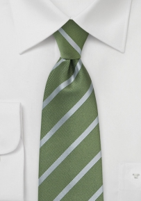 Repp-Stripe Tie in Moss and Silver