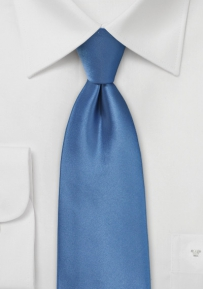 Solid Extra Long Necktie in Steel Blue